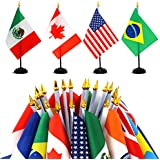 """ANLEY 24 Countries Deluxe Desk Flags Set - 8 x 5 Inches Miniature American US Desktop Flag with 13"""" Black Pole - Vivid Color and Fade Resistant - Come with Black Base and Golden Top"""