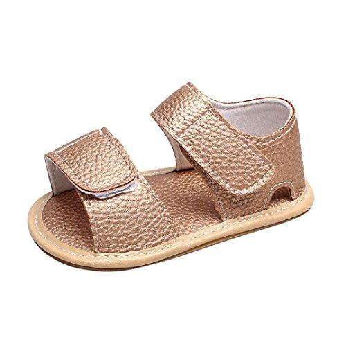 Jamicy® Baby Sandalen, Neugeborene Jungen Mädchen Camouflage Leder Sommer Flachen Sandalen Schuhe Gold