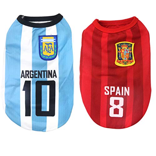 National Soccer Team Pet Dog Jersey T-Shirt,Pet Shirts Puppy Dog Vest Pet Clothing Costume Apparel Female Male Dogs & Cats Available-2pcs (M: Length:30cm/ Bust:40cm, Ag-Spain) Dog Puppy Football Jersey