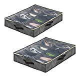 SamiTime 12 Pairs Under Bed Shoe Organizer Closet Storage Solution Organizer Box with Front Zippered Closure-2 Pack,ENLARGE SIZE