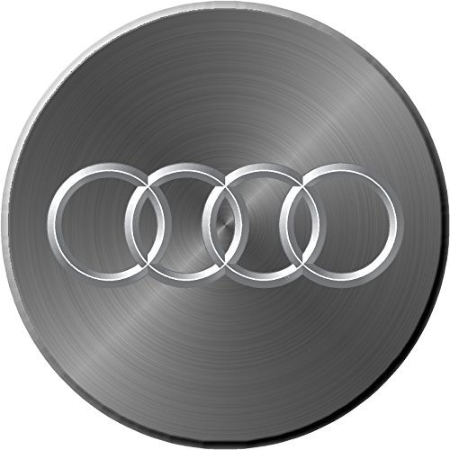 """Audi Simulated Brushe Metal Replacement Decal Sticker 6 Piece Set (2.75"""" = 70mm)"""