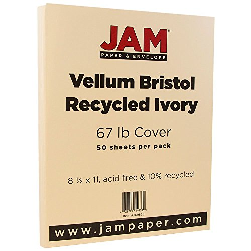JAM Paper 8 1/2 x 11 Vellum Cover - 67 lb Ivory Cardstock - 50 Sheets per Pack (11x18 Construction Paper)