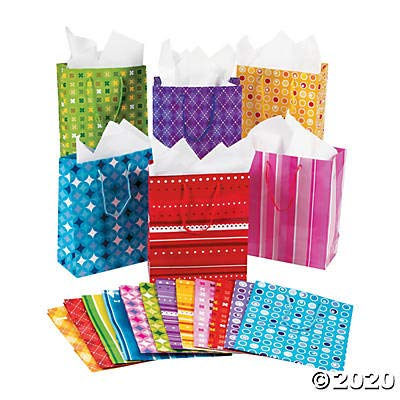 Medium Mega Colorful Print Gift Bags - Party Supplies - 60 Pieces: Toys & Games