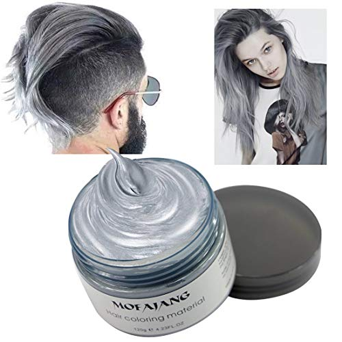 MOFAJANG Hair Color Wax Styling Cream Mud, Temporary Hair Dye Wax, Natural Hairstyle Dye Pomade for Party Cosplay, Halloween, 4.23 OZ, Grey -