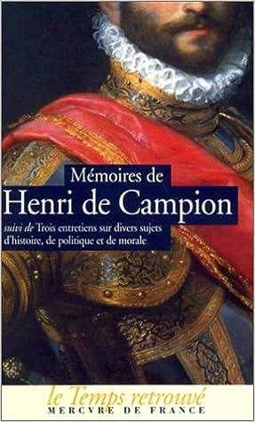Téléchargement Mémoires de Henri de Campion epub pdf