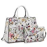 Women Leather Fashion Handbag Purse Satchel Shoulder Bag Wristlet Wallet Set White Floral