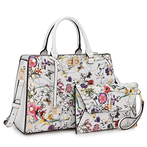 Women Leather Fashion Handbag Purse Satchel Shoulder Bag Wristlet Wallet Set White Floral by MKY