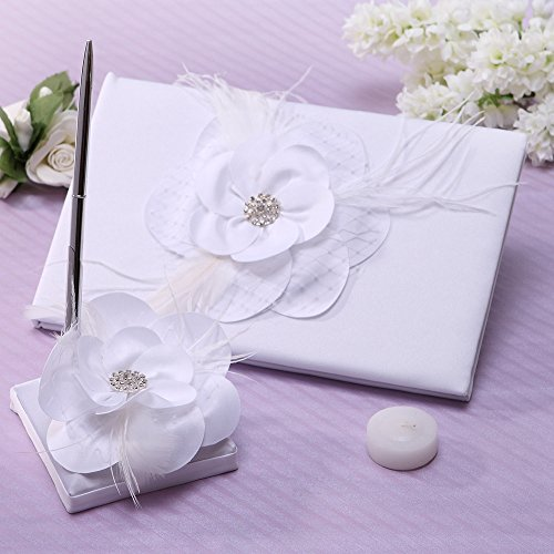 White Flower and Feather Guest Book and Pen Set For Wedding Party by KateMelon