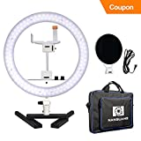 Nanguang Dimmable Ring Light 14'' LED Ring Light Bicolor Portable with Mirror Cellphone Holder Desk Stand for MakeUp,Portrait,Selfie,Youtube Video,Live Webcast,Still Life Photography Cyber Monday