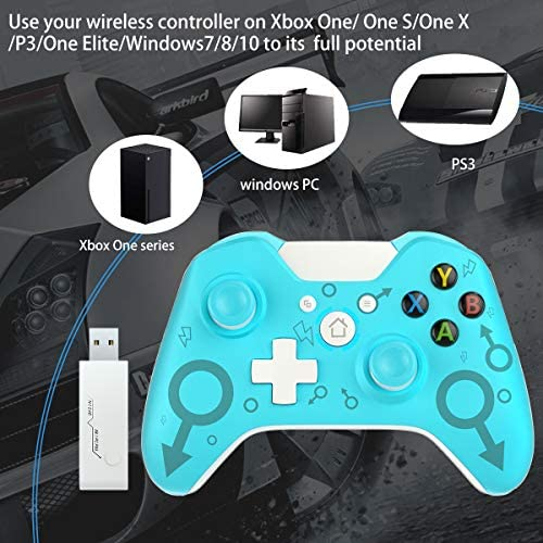 Wireless Controller for Xbox One, Fit for Xbox One S/One X/PS3 /One Elite/Windows 7/8/10,Usergaing Wireless PC Gamepad with 2.4GHZ Wireless Adapter(Blue)