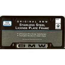 BMW License Plate Frame w/BMW Logo BLACK stainless steel