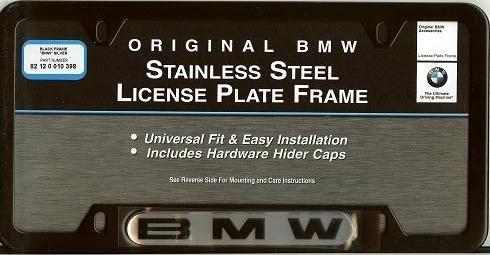 amazoncom bmw license plate frame wbmw logo black stainless steel automotive