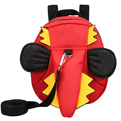 3D Toddler Baby Kid Walking Safety Harness Leash Backpack Travel Strap Anti Lost Bag (Dinosaur Red)