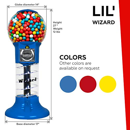 Spiral Gumball Machine Lil Wizard 27 inch - set up for $0.25 - Gumballs 1 inch - Toys in Round Capsules - 1'' Bouncy Balls 25 mm - Blue Vending Gum Machine - Great Gift for Kids by Global Gumball (Image #1)