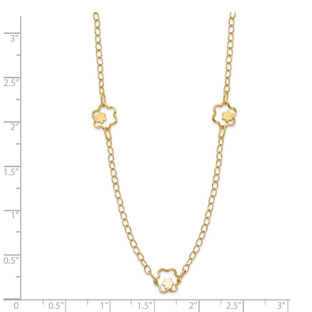 Jewelry Necklaces Fancy Necklaces 14k Polished Flower Necklace