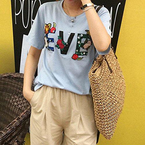 Paglia Tracolla Borsa Intrecciata Marrone Spiaggia Paglia a Demiawaking Cerniera Vintage in Shopping con Borsa da Borsa Estate Donne per XdI1Enxqw