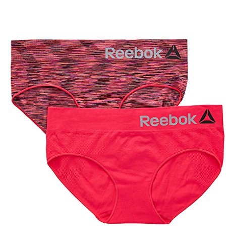 Reebok womens 2 PACK SEAMLESS HIPSTER True Diva/ Pink Spacedye Medium
