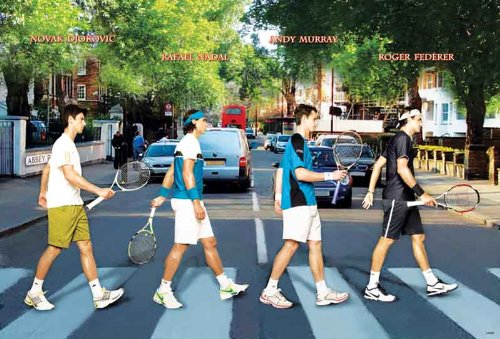 Novak Djokovic,nadal,andy Murray ,Federer Tennis Poster - Rare New - Image Print Photo
