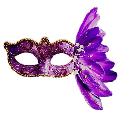 Rehot Masquerade Mask Women Feather Costume Prom Ball Mardi Gras Halloween Christmas Party Masks (Purple)