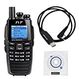 NKTECH USB Programming Cable & TYT DM-UVF10 With GPS 136-174/400-470MHz Dual Band DPMR 256CH 5W DTMF VOX 1750Hz Digital Transceiver Two Way Radio
