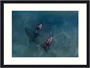 OiArt Wall Art Print Wood Framed Home Decor Picture Artwork(24x16 inch) - Hai Rowing Risk Paddle Board Surfer Water
