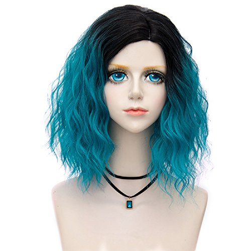 Probeauty Swinger Collection Ombre Hair Costume Wigs Women Central Part Cosplay Wig (Lake Blue F5)]()