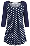 Helloacc Tunic Dresses for Women,Laryer Flowy Tops for Leggings Formal Long Shirts Casual 3/4 Sleeve Adorable Summer Polka Dots Tshirts Stylish Sweatershirt for Exercise Trapeze Wardrobe Oceanblue XL