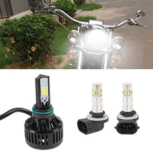 right 40W H4 LED Headlight & 881 Passing Lamps for Harley Electra Glide, Ultra Classic, Ultra Limited, Touring, Heritage, Softail, FLH, FLHX, FLHRS, FLHTC, FLHTCU (3pcs/set) ()