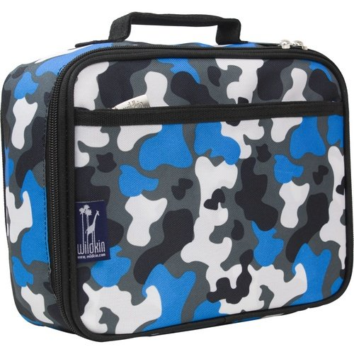 Lunch Box, Wildkin Lunch Box, Insulated, Moisture Resistant, and Easy to Clean with Helpful Extras for Quick and Simple Organization, Ages 3+, Perfect for Kids or On-The-Go Parents – Blue Camo by Wildkin