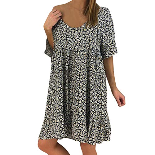 (Sunhusing Women's Round Neck Floral Printed Ruffled Sleeve Lace Trim Dress Summer Loose Chiffon Sundress Black)