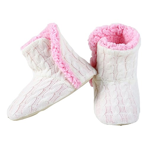 Cable Knit Booties - Yelete Womens Cable Knit Slippers House Booties Socks Soft Sherpa Lining Rubber Soles
