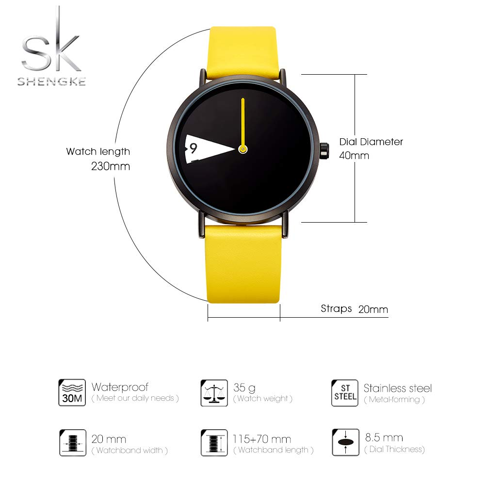 Amazon.com: SHENGKE Minimalist Women Watch Ultra-Thin Leather Strap Fashion Quartz Ladies Watches Waterproof reloj de Mujer,Yellow: Watches