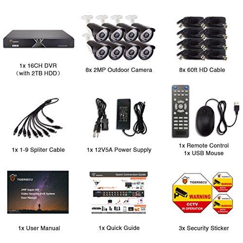 TIGERSECU Wired Home Security Camera System - Super HD 1080P 16
