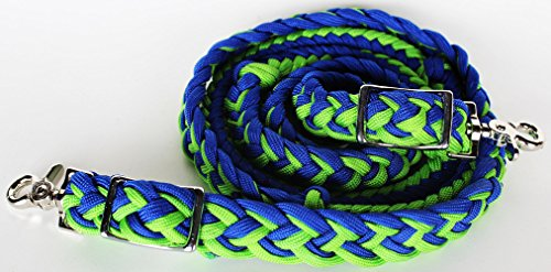 ProRider Horse Roping Braided Western Barrel Reins Nylon Rein Tack Equine Blue Lime 60772