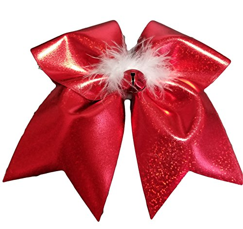 Cheer bow sparkly red and fuzzy Jingle Bell CHristmas Holiday Hair Bow