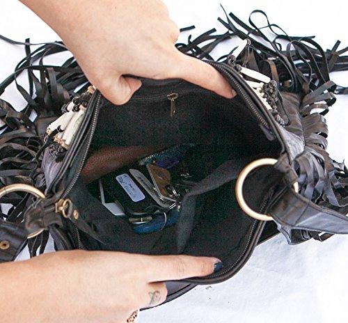 Bags Real Purse Fringe Black Bag Square Leather L Boho Bohemian 6wvt8x