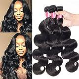 Sunber Brazilian Hair Body wave 3 bundles 7a Grade 100% Virgin Unprocessed Human Hair Weave 95-100g/bundle (10 12 14inch, Natural Black Color)