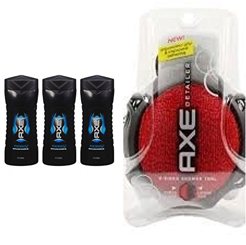 AXE Phoenix, Revitalizing Shower Gel, Travel Size 3 Fl Oz (Pack of 3) + AXE Shower Tool, Detailer, (color may (Axe Shower Tool)