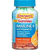 Emergen-C Gummies Immune Plus Vitamin D, Super Orange, 45 Gummies (Pack of 2) For Sale