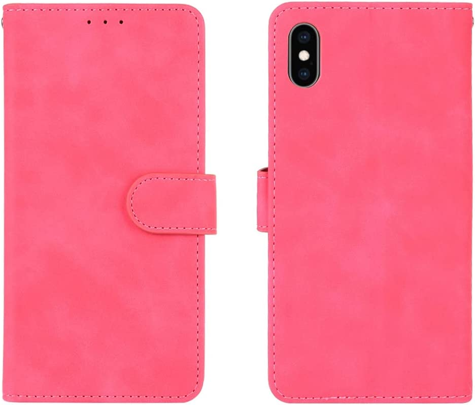 ZENGMING Phone Case Wallet Case for iPhone Xs MAX, PU Leather Wallet Case with Credit Card Holder Wrist Strap Shockproof Protective Cover for iiphone XS MAX (Color : Rose red)
