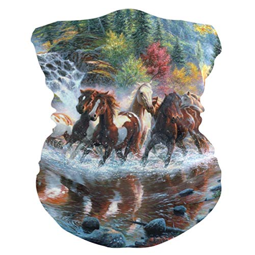 Horses Waterfall Forest Autumn River Balaclava Womens Headband Scarf Mens Versatile Bandana, Muffler, Neck Gaiter, Magic, Aliceband Helmet Liner