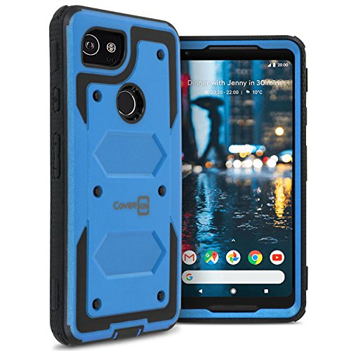 Google Pixel 2 XL Full Body Case, CoverON Tank Series Protective Heavy Duty Phone Cover with Tough Faceplate - Blue (Google Phone Faceplate)