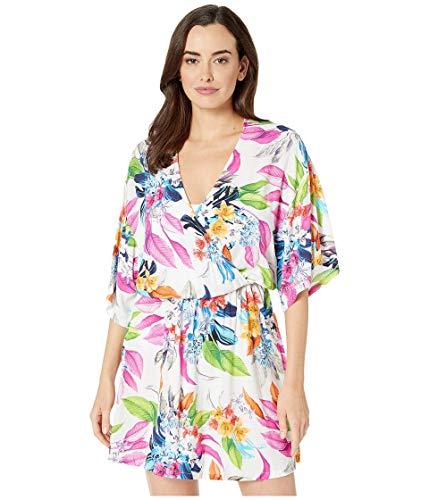 La Blanca Women's Kimono Short Sleeve Dress Swim Cover-Up, White, XS (Up Sleeve Short Swim Cover)