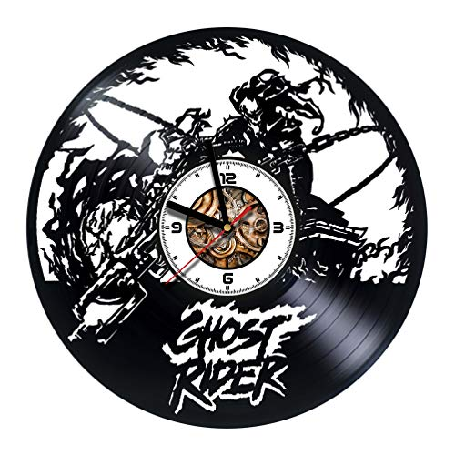 GHOST RIDER - Handmade Vinyl Wall CLock - Get unique gifts presents for birthday, Christmas, anniversary - Gift ideas for boys, girls, women, adults, him and her - Unique Design (Vinyl Ghost Adult Rider)