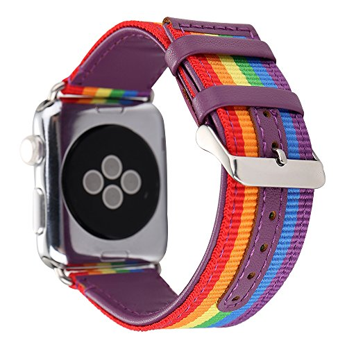 (Guigong Band Compatible with Apple Watch, Nylon with Genuine Leather Sport Replacement Strap Wrist Band with Metal Adapter for Apple Watch / Sport /Edition (42mm Rainbow 2))