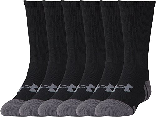 Under Armour Youth Resistor 3.0 Crew Athletic Socks (6 Pack), Black/Graphite, Youth Large