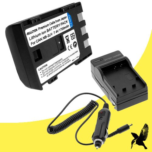 Halcyon 1700 mAH Lithium Ion Replacement Battery and Charger Kit for Canon ZR900 MiniDV Digital Camcorder and Canon NB-2LH