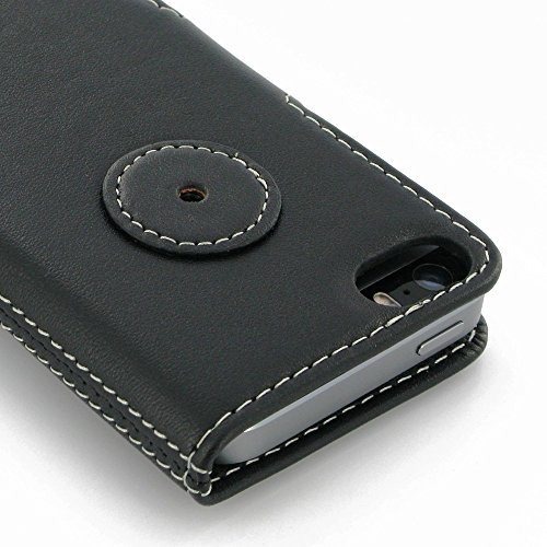Apple iPhone 5s Leather Case / Cover Protective Carrying Case (Handmade Genuine Leather) - Book Type Ver.2 (Black) by Pdair