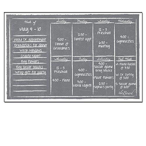 AlaBoard Grey Chalkboard Magnetic Dry Erase Weekly Calendar