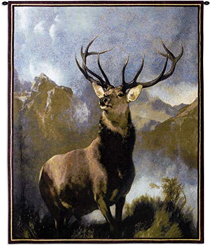 Monarch of The Glen by Sir Edwin Landseer | Woven Tapestry Wall Art Hanging | Majestic Deer Wildlife Lodge Artwork | 100% Cotton USA Size - Majestic Elk